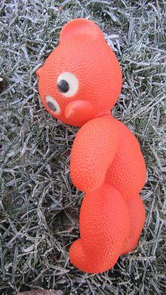 Lovely big orange vintage plastic bear soviet toy by RETROisIN