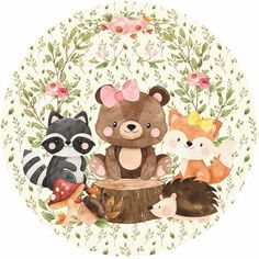 Baby Animal Drawings, Cute Drawings, Forest Animals, Woodland Animals, Honey Shop, Baby Painting, Woodland Party, Cute Images, Stickers