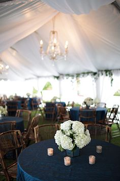 Navy blue crinkle taffeta tablecloths. So pretty with the green and wood colors.