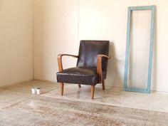 Chair 古いフェイクレザーのアームソファー4アンティーク椅子レトロ インテリア 雑貨 家具 Antique ¥7000yen 〆06月24日