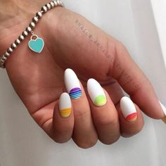 Nail Art magnetic designs for fascinating ladies. White Nail Designs, Best Nail Art Designs, Colorful Nail Designs, Neon Toe Nails, Summer Nails Neon, Cute Almond Nails, Almond Nail Art, Moon Manicure, Moon Nails