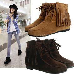 De las mujeres bonitas Zapatos Classic Soft borlas del cordón del UP Pisos dentro de las botas del tobillo