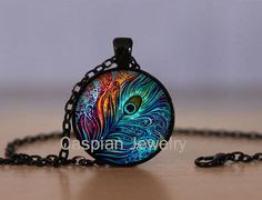Peacock Feather Black Fashion Jewelry Pendant Necklace Top quality #Handmade #Pendant