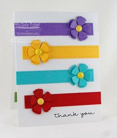 Use a flower punch or die cut and strips of matching paper for this brightly colored handmade thank you note. The strips remind me of a little girl's hair clips! Handmade Thank You Cards, Greeting Cards Handmade, Flower Cards, Paper Flowers, Cut Flowers, Pretty Cards, Card Tags, Paper Cards, Kids Cards