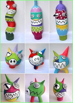 Paper mache monsters colorful art project for kids - Crafts for Teens Paper Mache Projects, Recycled Art Projects, Sculpture Lessons, Sculpture Projects, Kids Crafts, Arts And Crafts, Paper Mache Crafts For Kids, Plate Crafts, Art Crafts