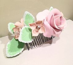 Amazingly gorgeous pastel colors hair comb  on Etsy, $50.00