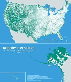 318 million people? So the U.S. is pretty densely populated then? Nope. This map shows census blocks with ZERO population: turns out 47 percent of the USA remains unoccupied.