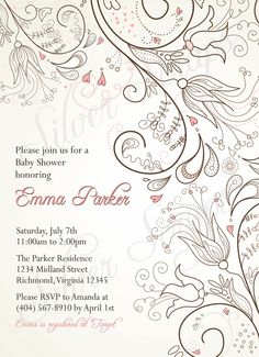 Doodle Floral Custom Digital Bridal, Baby Shower, or Bridesmaids Luncheon Invitation - Pink Ivory Brown Flowers Bird Hearts Rustic Girl Boy. $15.00, via Etsy.