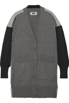 MM6 Maison Margiela - Oversized Wool And Cotton-blend Cardigan - Gray - x large