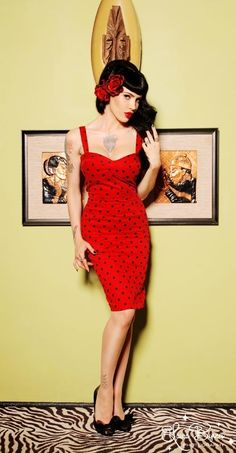 Pin up clothing  The Vamp Dress in Red with Black Dots by Deadly Dames