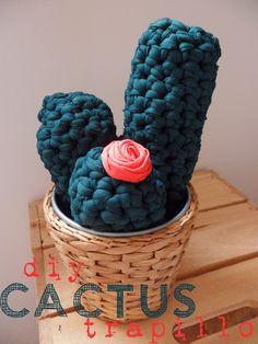 Cactus de Trapillo a Crochet Patrón Gratis en Catalán y más abajo en Español Crochet Cactus, Diy Crochet, Crochet Ideas, Cactus Craft, Big Yarn, Cotton Cord, Yarn Bombing, Cute Little Things, T Shirt Yarn