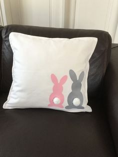 Bunny Pillow Cover, Easter Pillow, Black and White Bunny Pillow Cover, Spring Pillow, Easter Decor by CeilsLittleShop on Etsy Bunny Crafts, Easter Crafts, Easter Decor, Cute Pillows, Diy Pillows, Easter Pillows, Spring Projects, Easter Colors, Sofa Cushion Covers