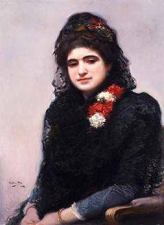 Mujer con mantilla- Cecilio Pla y Gallardo (Valencia, 1860-1934)
