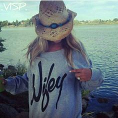 """Wifey Pullover in Small Wifey light pullover in gray. Size SMALL,  fits true to size.  Measures 27"""" inches long & 17"""" inches across chest without stretching.  Super cute and comfy on! Sweaters Crew & Scoop Necks"""