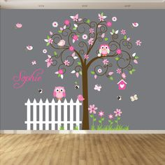 This Swirl tree vinyl wall decal, goes great in any nursery or children room. It is a easy and adorable way to decorate a bedroom { Decal Kit