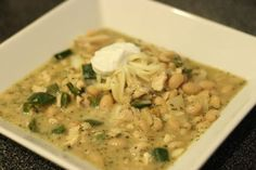 Checkout this easy low calorie White Chicken Chili Recipe at LaaLoosh.com! With just 5 Points + per serving, it's a tasty and healthy dinner recipe that will keep you on track to reaching your Weight Watchers goals.