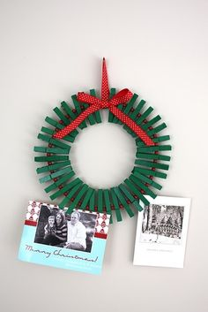 Christmas Card Display Wreath. If you spray-painted the clothespins ahead of time (or even left them plain).  Different styles of ribbon would help make this go with various styles of decor.
