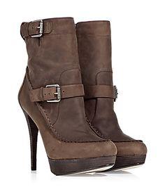 KORS MICHAEL KORS  Espresso Buckled Platform Ankle Boots