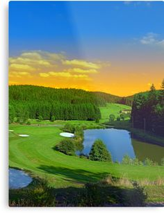 Summer sunset at the golf club | landscape photography by Patrick Jobst. Fine wall art metal print, available in different sizes (from extra small to extra large) and Gloss or Matte finish. #metalprint #wallart