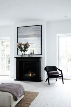 Black on White, Scandinavian Black Electric Fireplace, interior design, black fireplace, bedroom Home Bedroom, Home Living Room, Bedroom Decor, Bedroom Furniture, Bedrooms, Modern Bedroom, Bedroom Ideas, Master Bedroom, Fireplace Mirror