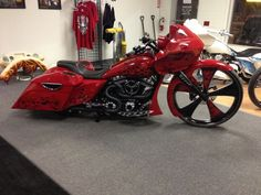 Harley-Davidson Road Glide custom with a giant front wheel and a wild graffiti paint job.   #Bagger #CUSTOM