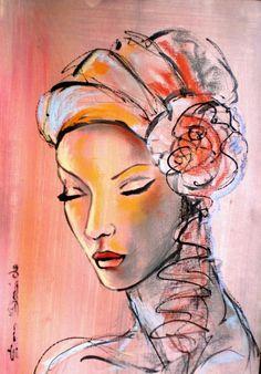 """""""Dam Domido""""Ce rêve...toujours""""  portrait expressioniste 42x30 cm"""
