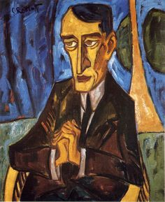 #KARL_SCHMIDT-ROTTLUFF * Portrait of #Lyonel_Feininger, 1915. * #Der_Blaue_Reiter