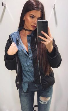 #fall #outfits · Denim Shirt + Leather Jacket + Ripped Jeans
