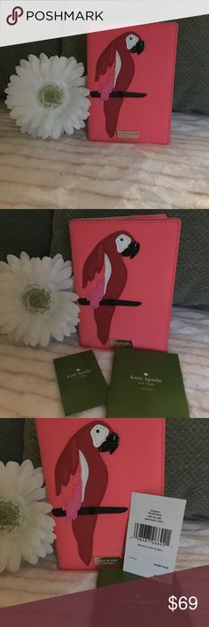 Kate Spade Leather Passport Wallet - Parrot Brand new w/ tags. Kate Spade Leather Parrot Passport Wallet from the Imogene - Talk The Talk Collection. Vibrant coral, red, pink, white and black parrot on the front of this cross-hatched Leather Passport Wallet, Gold Kate Spade signature plate, and signature gold lining. Lots of room for your Passport, cards, and travel receipts. Great Stocking Stuffer! Retails at $99. kate spade Bags Wallets