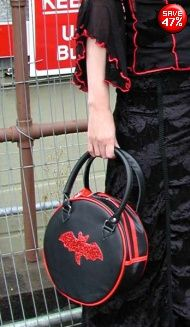 Gothic handbag round bag with glitter bat Red with Black bat and two handles from Gothic Clothing UK by Drac-In-A-Box