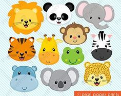 Animal Faces Clipart Clip Art, Zoo Jungle Farm Barnyard Forest Woodland Animal Clipart Clip Art – Commercial and Personal Use – Melissa Campos - Baby Animals Jungle Party, Safari Party, Jungle Theme, Jungle Animals, Baby Animals, Wild Animals, Clip Art, Animal Faces, Arts And Crafts Movement