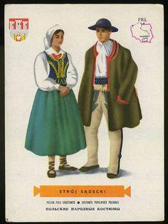 Man and woman wearing traditional clothes of Stroj Sadecki ,Poland;Polish folk costumes