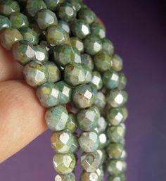 Antique Green Czech Glass Beads