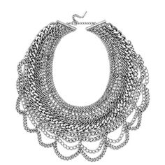 BaubleBar 'Courtney' Bib Necklace featuring polyvore, fashion, jewelry, necklaces, silver, holiday jewelry, cocktail jewelry, evening jewelry, baublebar jewelry and chain bib necklace