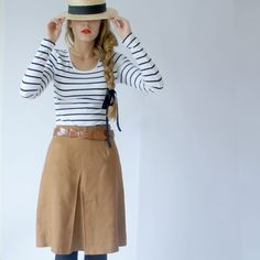 stripe top and casual skirt