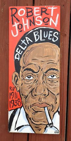 """7.5""""x18.5"""" blues music folk art painting of Robert Johnson by Grego from mojohand.com - thick wood - ready to hang"""