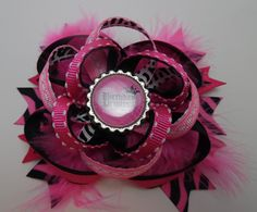 Birthday Princess Pink Zebra Feathers Stacked Twisted Boutique Style Hair Bow French Barrette Grosgrain Ribbon Bottle Cap Handmade by KraftyKreations2014 on Etsy