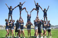 I bet we can do this stunt Cool Cheer Stunts, Cheer Jumps, Cheer Tryouts, Football Cheer, Cheer Coaches, College Football, Alabama Football, American Football, Cheer Pyramids