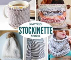 If you're stuck knitting the same patterns over and over again, it is time for a project overhaul. Stockinette Stitch Knitting: 52 Free Knitting Patterns gives you just what you need. Learning to knit stockinette stitch will open up a many patterns. Bamboo Knitting Needles, Knitting Yarn, Free Knitting, Easy Knit Hat, Easy Knitting Projects, Sewing Projects, Knifty Knitter, Loom Knitting Patterns, Stitch Patterns