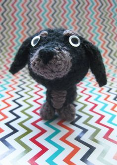 Dachshund Beeble dog. Crochet micro dog with beads for eyes. Size: 7 1/2 cm