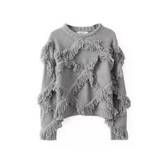 Casual Tassels Long Sleeve Round Neck Pullovers Sweater (€22) ❤ liked on Polyvore featuring tops, sweaters, grey, sweaters & cardigans, collar top, pullover tops, grey sweater, long sleeve pullover sweater and long sleeve tops