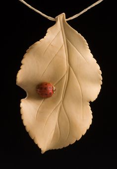 Lady Bug on Apple Leaf ~ Pin/Pendant • Janel Jacobson ~ Small Sculptures and Netsuke