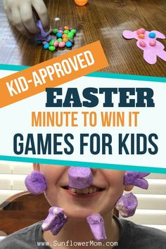 These 9 hilarious kid-approved Easter games of minute to win it games answer the question as to what do with all the leftover Easter candy. Enjoy these best minute to win it games for Easter with your kids. games indoor minute to win it Easter Bingo, Easter Puzzles, Easter Party Games, Easter Activities For Kids, Games For Toddlers, Kids Party Games, Easter With Kids, Kid Games, Group Games