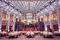 Purple White Modern Washington DC Wedding Reception At The Reagan Building Christina Brent