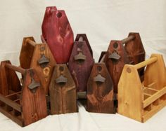 Handcrafted Wooden Six Pack Beer Carrier, With or Without Bottle Opener and Custom Staining / Weddings / Father's Day