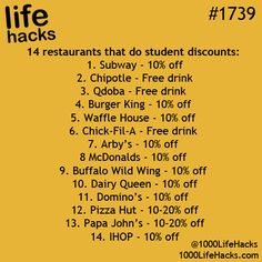 14 Restaurants that do student discounts