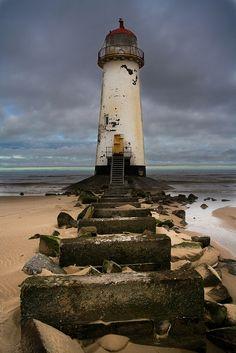 Faro abandonado de Talacre en el norte de Gales, Reino Unido.