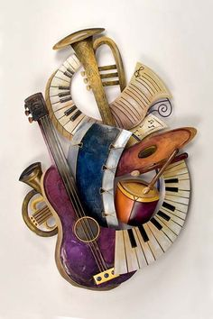 Musical Instruments Collage Metal Wall Sculpture