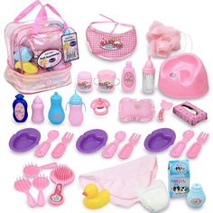 Click N' Play 33 Piece Baby Doll Feeding and Caring Accessory Set In Zippered Carrying Case. Baby Dolls For Kids, Little Girl Toys, Baby Doll Toys, Baby Alive Dolls, Toys For Girls, Kids Toys, Baby Doll Diaper Bag, Baby Doll Strollers, Zapf Creation