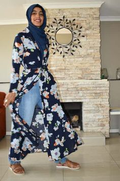 Navy Floral Khamissa www.fabulousinhijab.co.za Cape Town South Africa, Navy, Floral, Stuff To Buy, Fashion, Hale Navy, Moda, Fashion Styles, Florals
